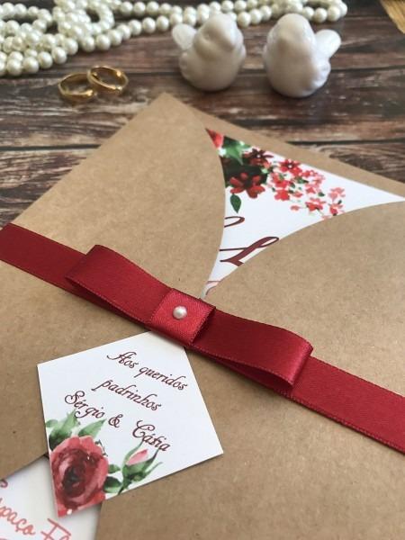 Convite rústico floral marsala (bordo) r02 no elo7