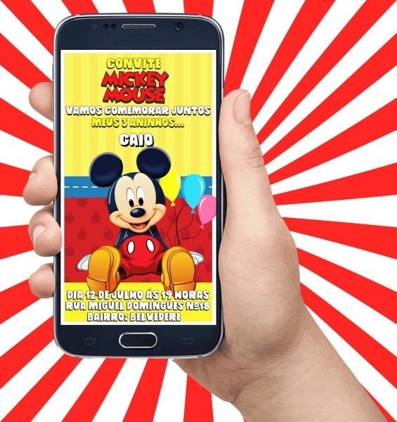 Convite virtual animado para aniversário   mickey mouse