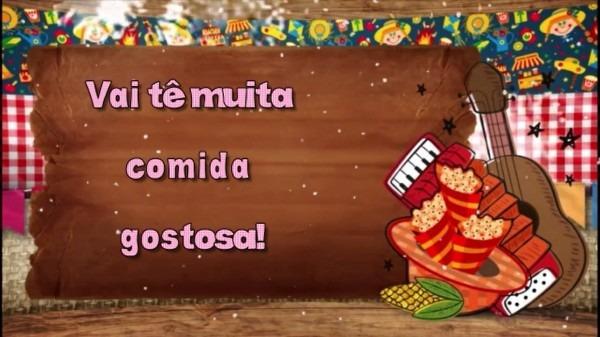 Convite virtual animado para festa junina, arraia, são joão