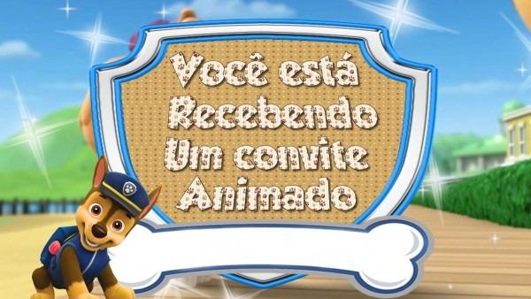 Convite virtual animado patrulha canina para whatsapp no elo7