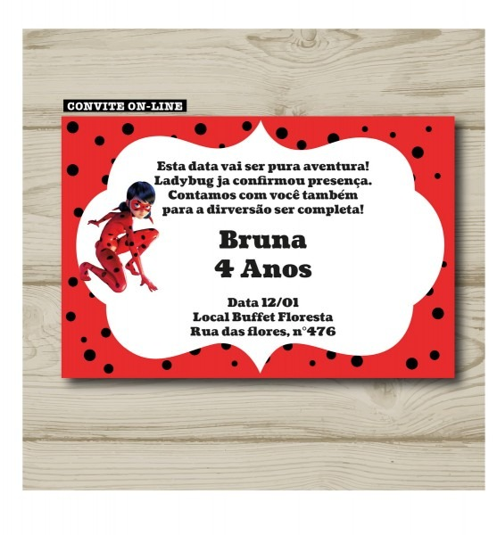 Convite virtual ladybug no elo7