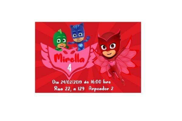 Convite virtual pjmasks no elo7