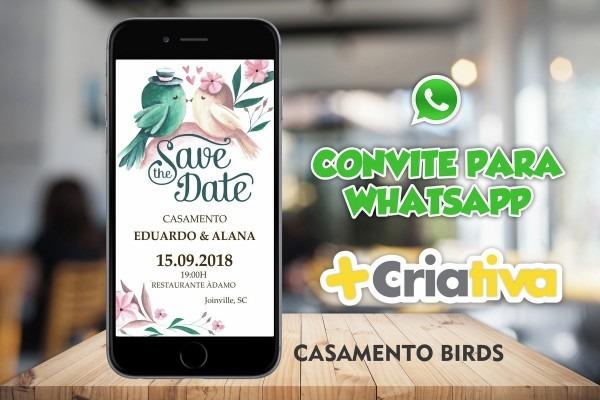 Convite whatsapp casamento birds no elo7