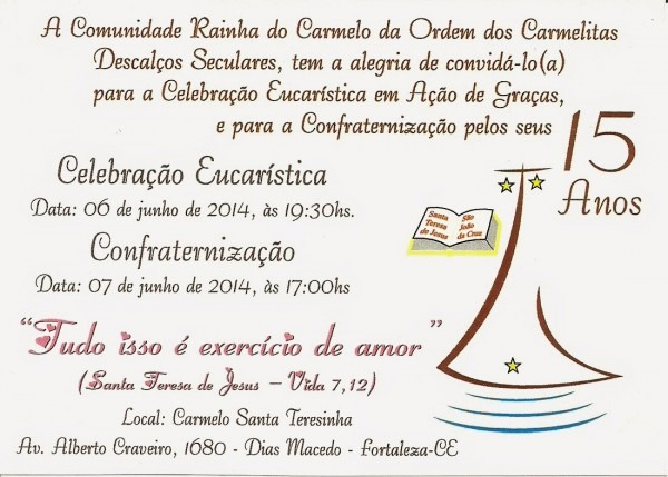Blog da comunidade rainha do carmelo (ocds)  convite!