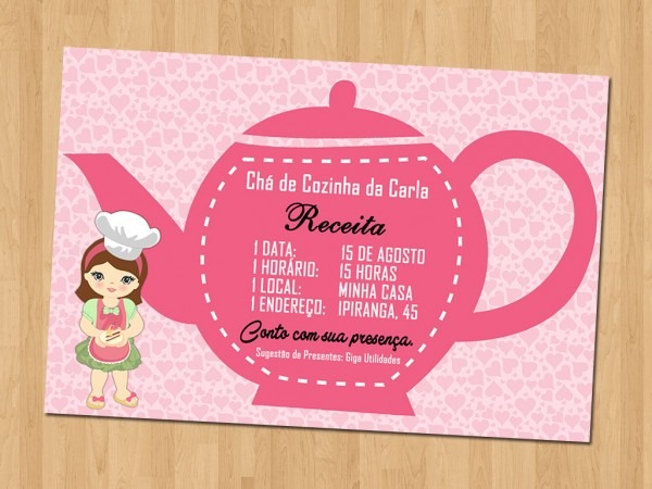 Convite de chá de cozinha diferente