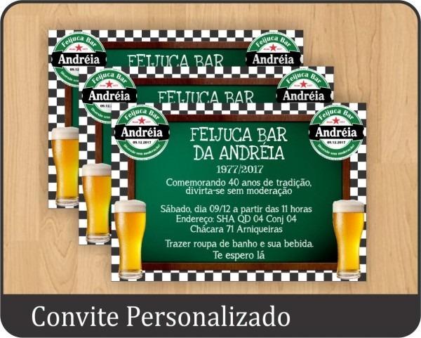 20 convites personalizado festa boteco chá bar