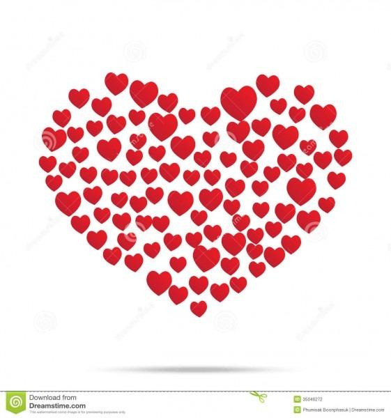 Coração vermelho convite casado do casamento isolado ilustração do