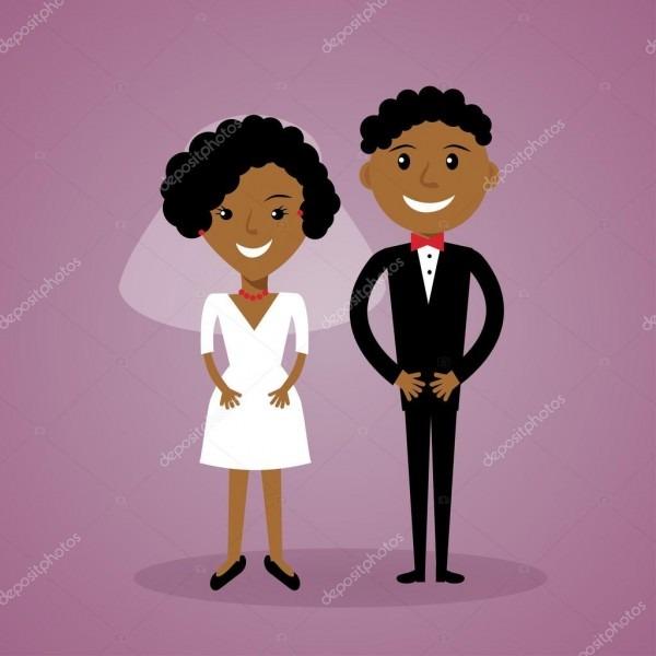 Noivo e noiva afro