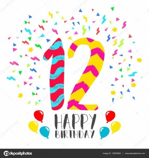 Feliz aniversário para o cartão de convite de festa de 12 anos