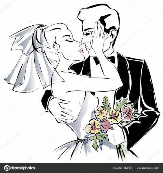 Casal, feliz noiva e noivo desenho ilustração vetorial de convite