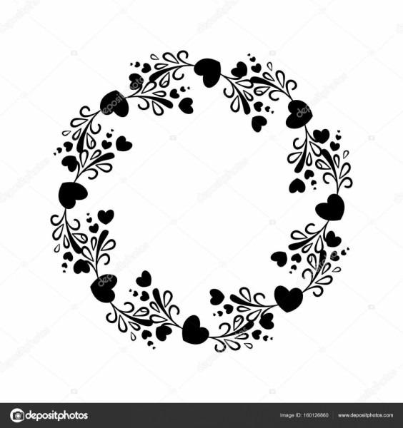 Elegante moldura redonda preto e branca com uma silhueta de