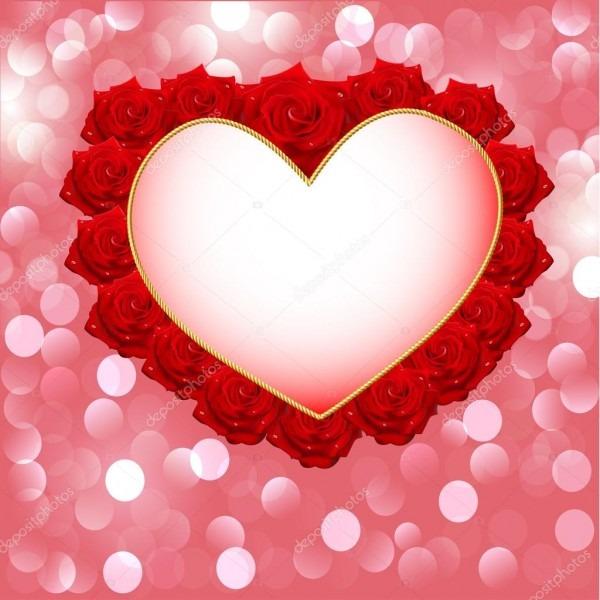 Fundo com coração feito de rosas para convite de casamento — vetor