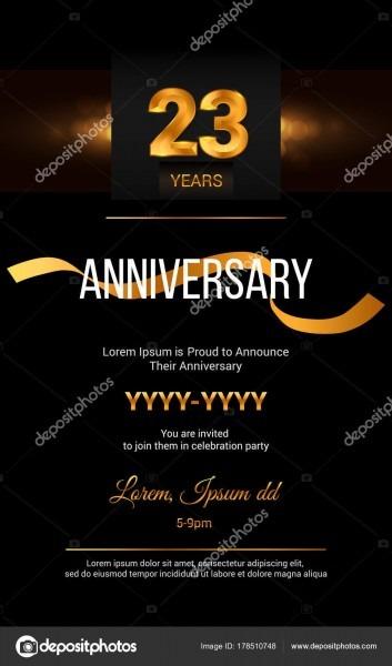 Cartão de convite de aniversário de 23 anos — vetor de stock