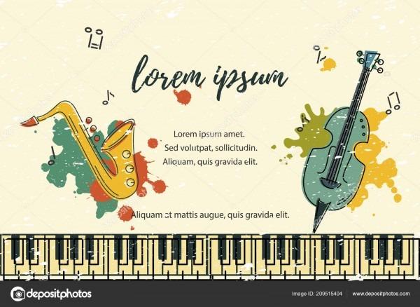 Modelo para festival música jazz festa convite saudação cartão