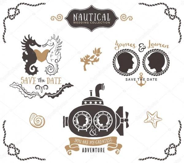 Logotipo de convite de casamento de mão desenhada — vetor de stock