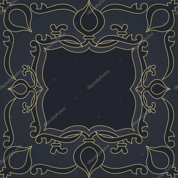 Moldura de convite de abstrato floral ornamental azul escuro