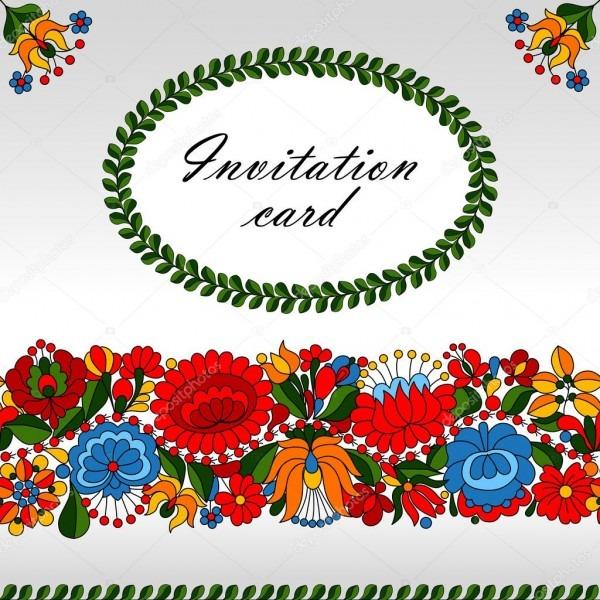 Modelo de cartão de convite do ornamento folclórica tradicional