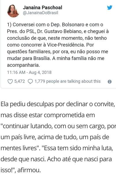 M  avante brasil on twitter   janaína paschoal recusa convite para