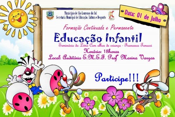 Convite formaÇÃo continuada e permanente da educaÇÃo infantil