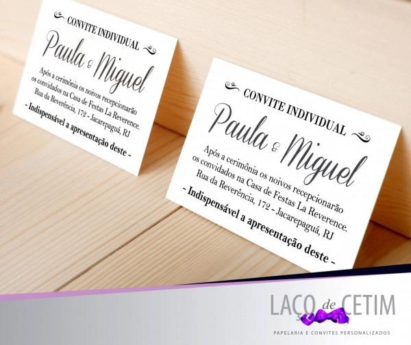 Elegante tamanho padr o convite individual casamento elo7