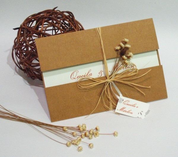 Convite impresso em papel linho   br envelope em papel kraft, laço