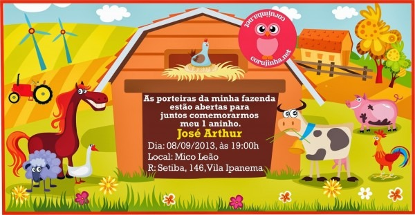 Corujinha  convite festa fazendinha