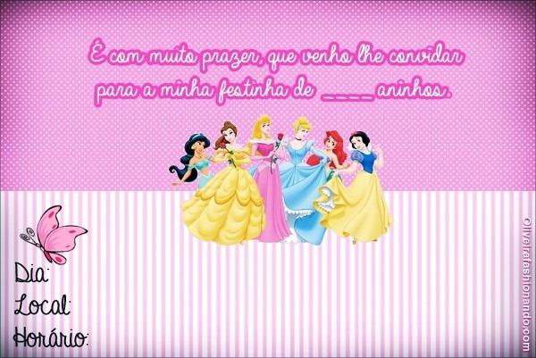 Convite princesas disney para imprimir