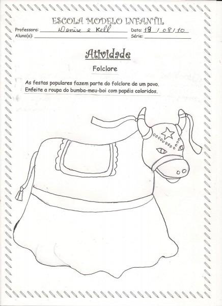 Escola modelo infantil  atividades do folclore