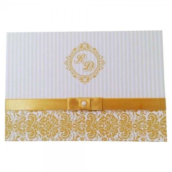Kit 20 convites casamento dourado com fita de cetim