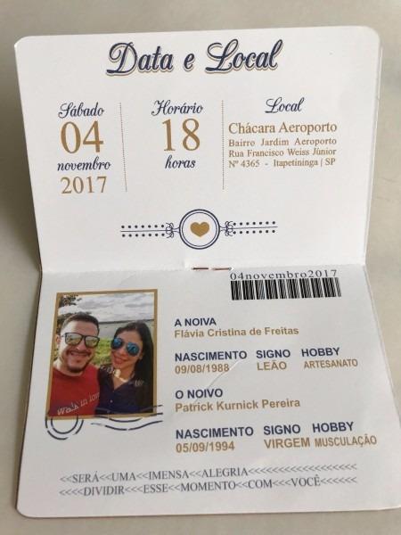 Kit 40 convite casamento noivado passaporte viagem divertido