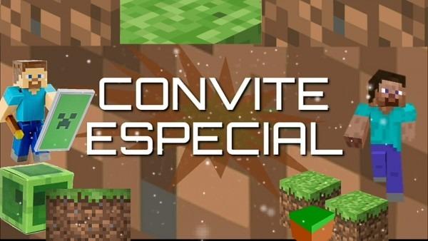 Convite animado minecraft pronto para baixar e editar