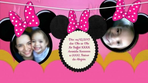 Convite animado minnie rosa ana laura 4 anos