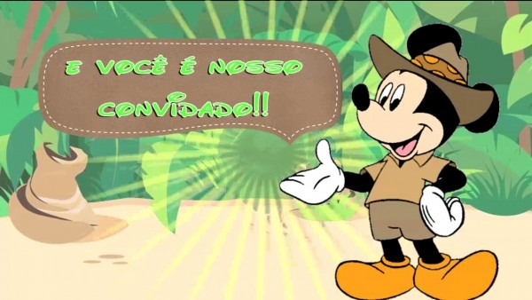 Convite animado mickey safari