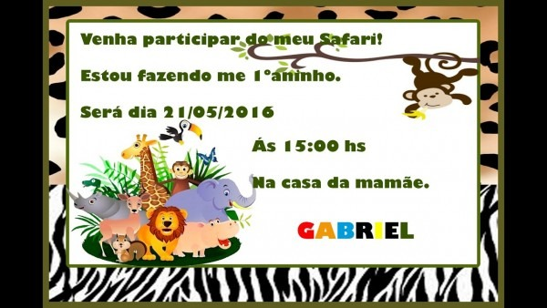 Como fazer convite de aniversÁrio safari no word ❤