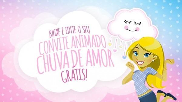 Convite animado virtual chuva de amor grátis
