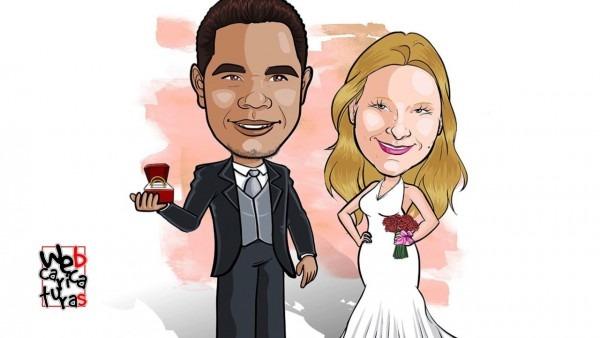 Caricatura de casal para convite de casamento