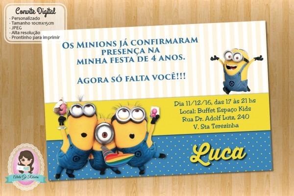 Minions convite de aniversario 7 » happy birthday world