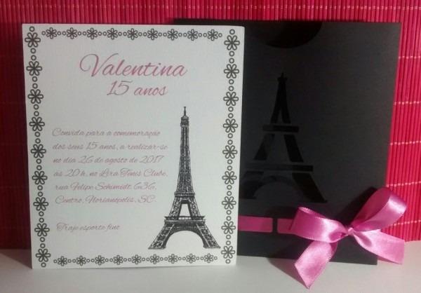 Convite de 15 anos  noite em paris