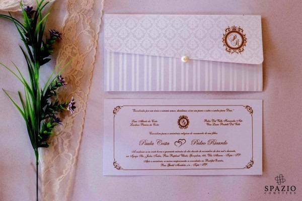 Novo convites de casamento em sp convite branco com dourado