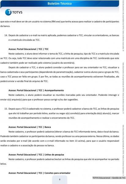 Boletim técnico  gestão de tcc  desenvolvimento procedimento