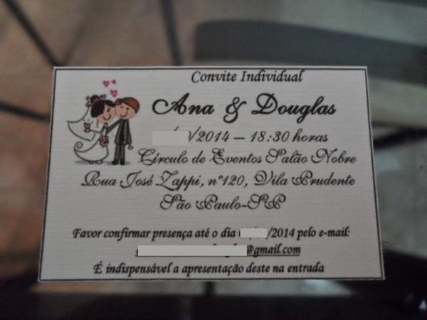 Convites individuais de casamento