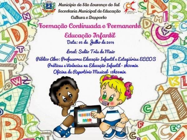 Convite formação continuada e permanente para educação infantil