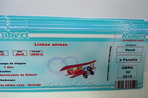 Festa personalizada  convite passaporte urso aviador azul e marrom
