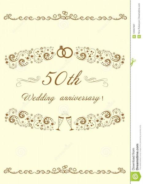 50th convite do aniversário de casamento dourado vetor editável