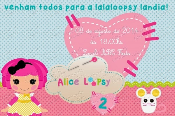 Usina de convites  convite tema lalaloopsy