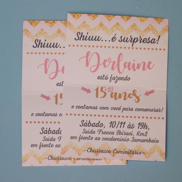 05 convites de aniversário surpresa noivado divertido rosa