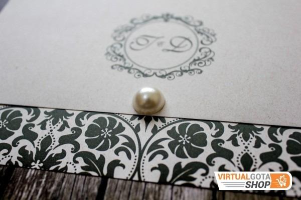05 convites de casamento noivado tradicional preto e branco