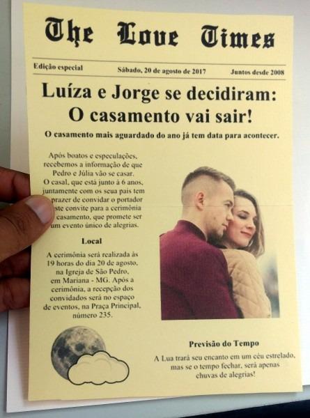100 convites casamento modelo jornal + fitilho