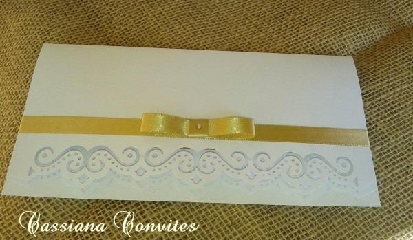 100 convites de casamento vazado branco e dourado
