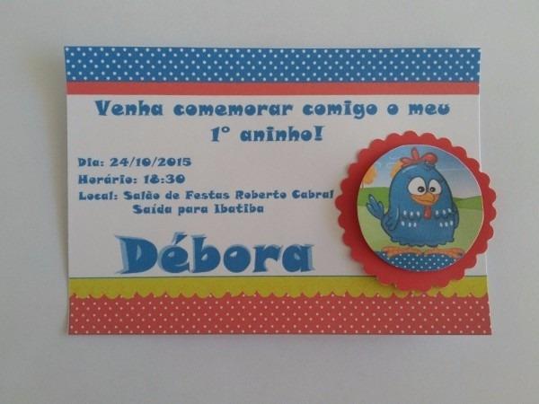 100 convites galinha pintadinha com scrapbook personalizados